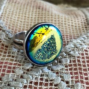 Jewelry - Druzy Agate stone Sterling Silver 925 ring 9.5